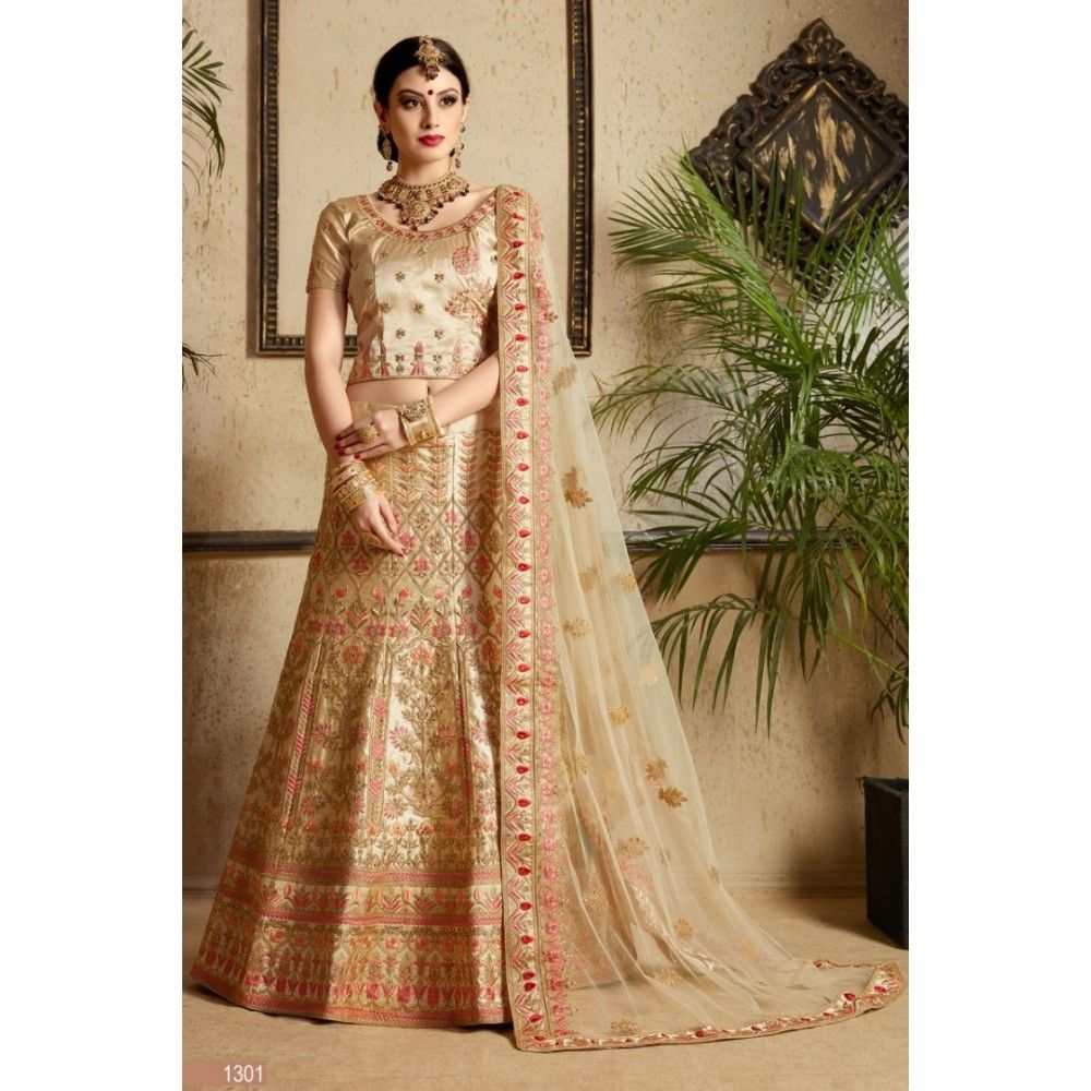67e86eb185 Gold satin silk designer heavy embroidered bridal lehenga in 2019 ...