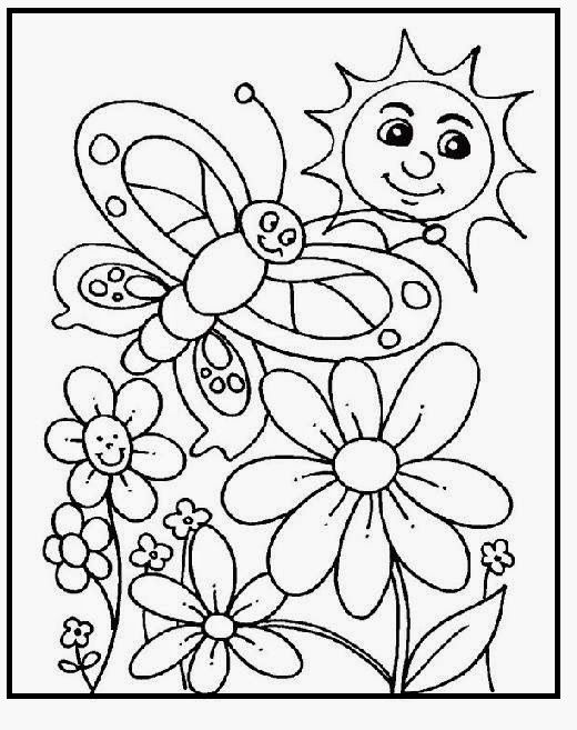 Smile Beautiful Spring Day coloring picture for kids ...