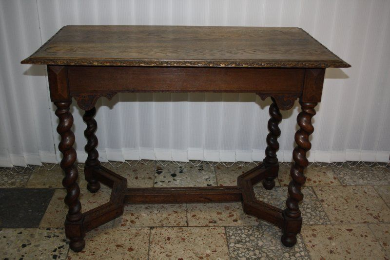 antik barock tisch esstisch beistelltisch eiche gedrechselte beine um1800 393 m bel. Black Bedroom Furniture Sets. Home Design Ideas