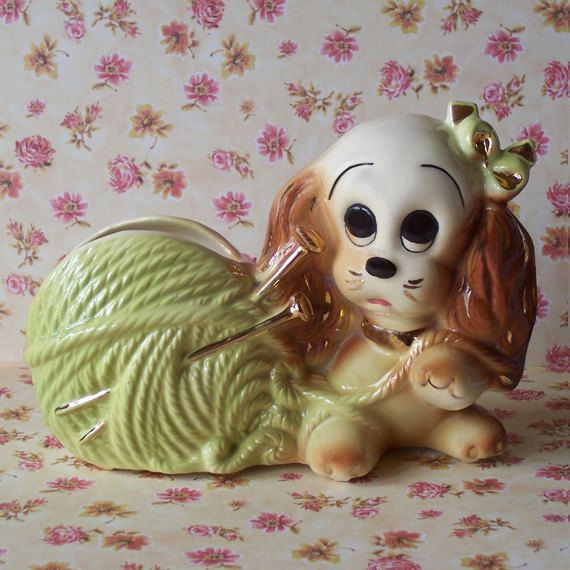 Vintage+1988+Pottery+Gold+Trim+Spaniel+by+CountryTrlCollection,+$14.95