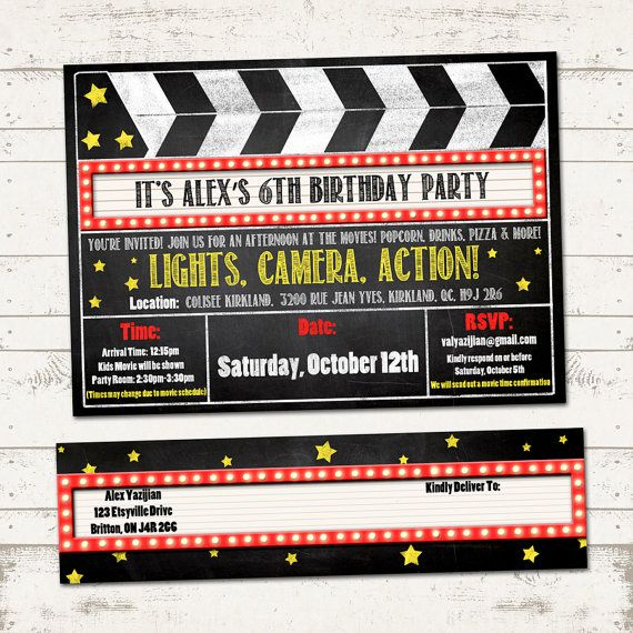 Movie Birthday Party Invitation With Wrap Around Address Labels Movies Clipboard Marq Movie Birthday Party Movie Night Birthday Party Party Invite Template