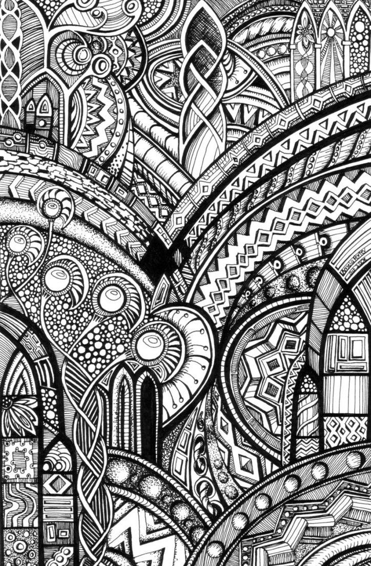 - Psychedelic Romanesque 2 By Artwyrd Coloring Pages, Free