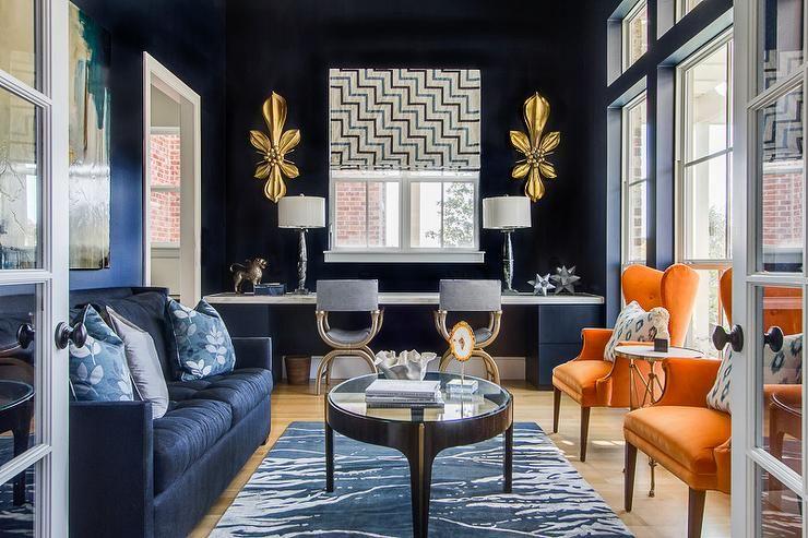 Ej Interiors Living Rooms Navy Walls Gold Accessory Blue