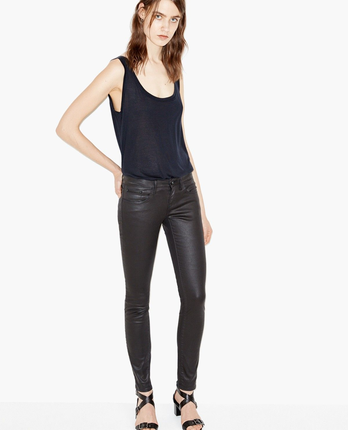 Leather effect jeans, Skin cut - Denim - The Kooples