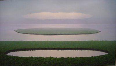 Relación entre la laguna, la isla y la nube. Pintor Tomás Sánchez, artista cubano.