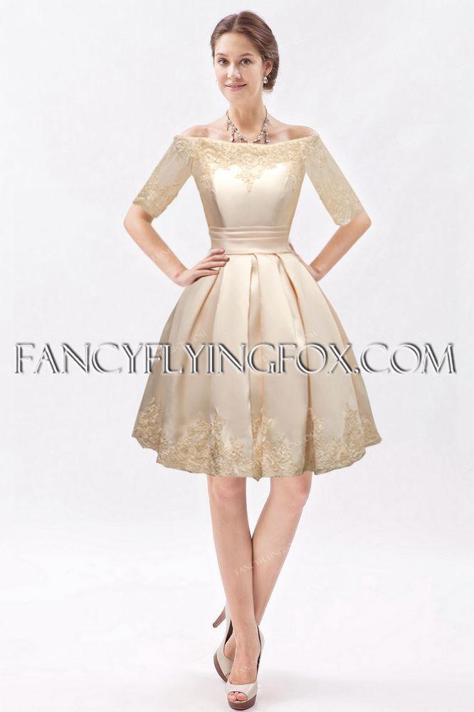 Modest Middle Sleeves Satin Summer Wedding Dress 2016  b55531121