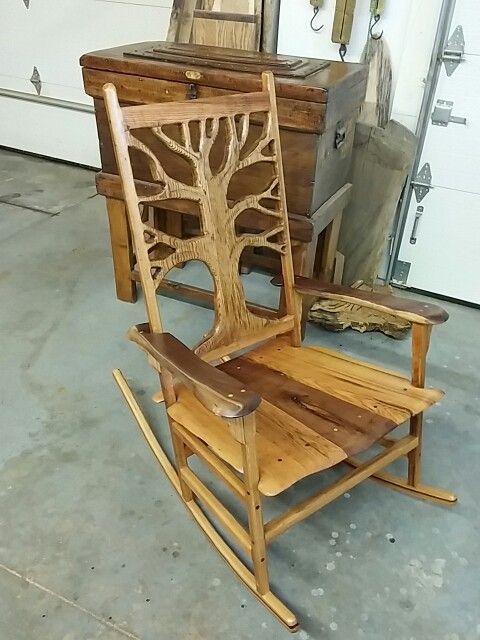 Custom Rocking Chair. Black Walunt And Red Oak. Wood Is Timber Harvested  From Our Farm