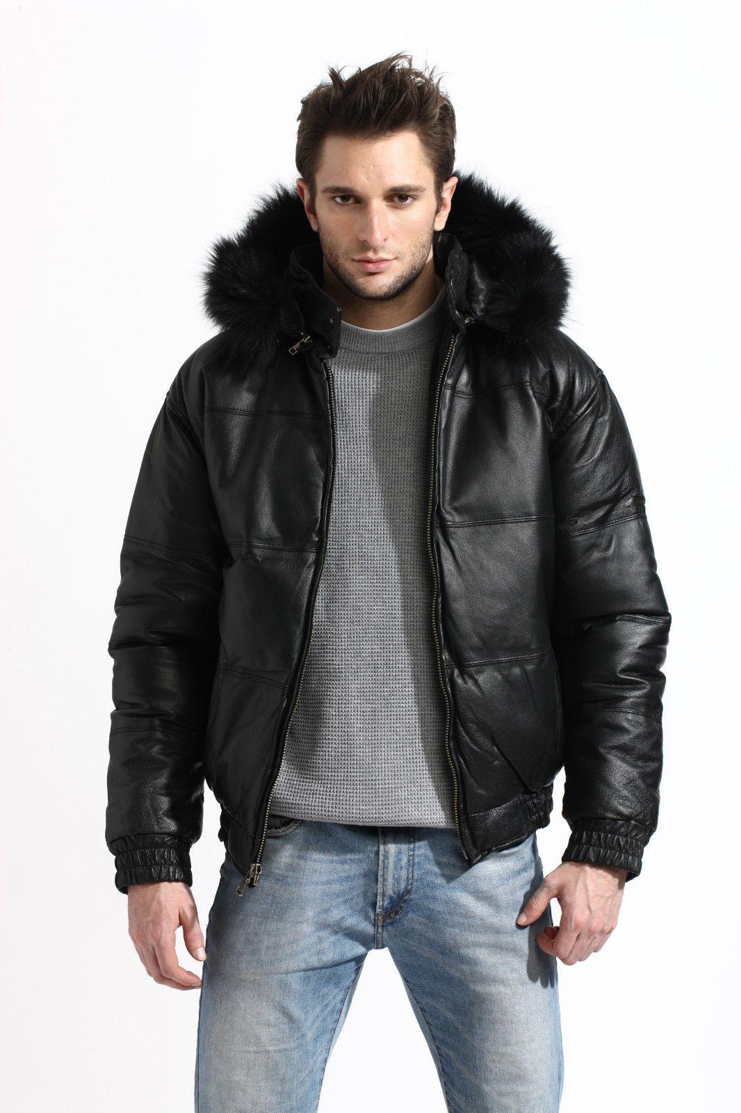 Mens Genuine Leather Bubble Bomber Jacket Snorkel Removable Hood Fox Fur Trim Ebay Blouson Fourrure Manteau [ 1600 x 1066 Pixel ]