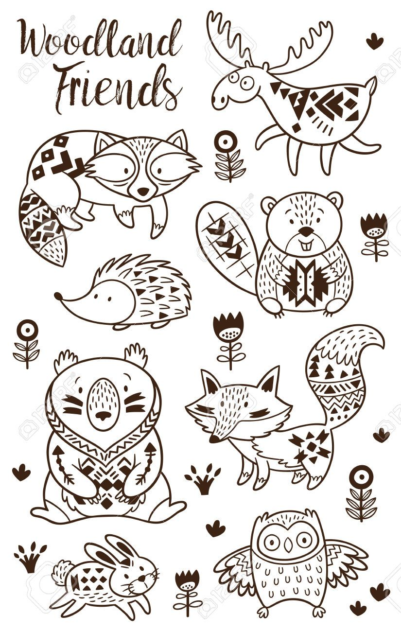 woodland coloring page grandmas house pinterest woodland Baby Woodland Creatures Coloring Pages Baby Woodland Animals Clip Art