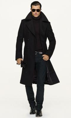 cbf6c938 Wool Officer's Coat - Black Label Denim Cloth - RalphLauren.com ...