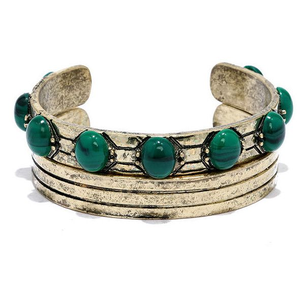 Aruba Ready Gold and Green Bracelet Set (975 RUB) ❤ liked on Polyvore featuring jewelry, bracelets, gold, yellow gold bangle, polishing gold jewelry, polish jewelry, lulu jewelry and green bangles