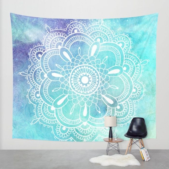Aqua Purple Galaxy Mandala Wall Tapestry Wall Tapestry Bedroom