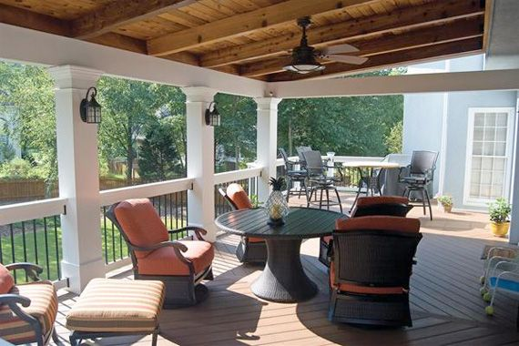 Partially Covered Deck With Pergola And Ceiling Fan Dark And