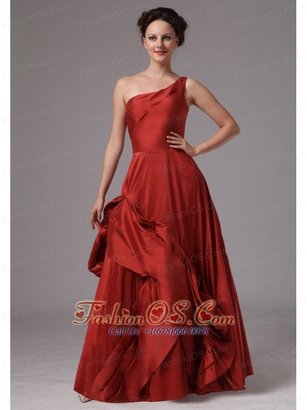 Wine Red Unique One Shoulder Taffeta Prom Dress For Custom Made In ...