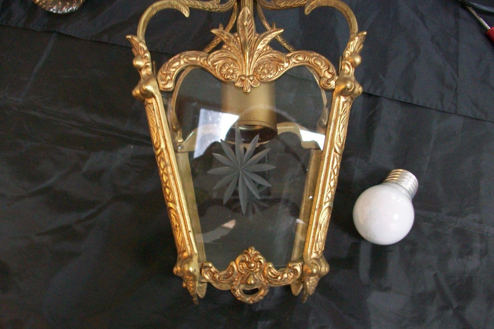 stunning vintage french stamped bronze lantern 6 etched glass porch