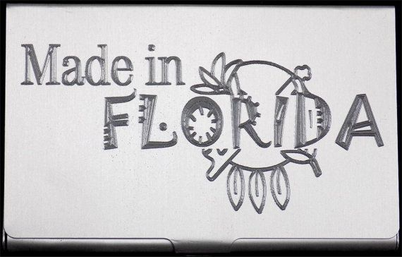 Made In Florida Engraved Business Credit Card Case Patch Holder Gift BUS-0218