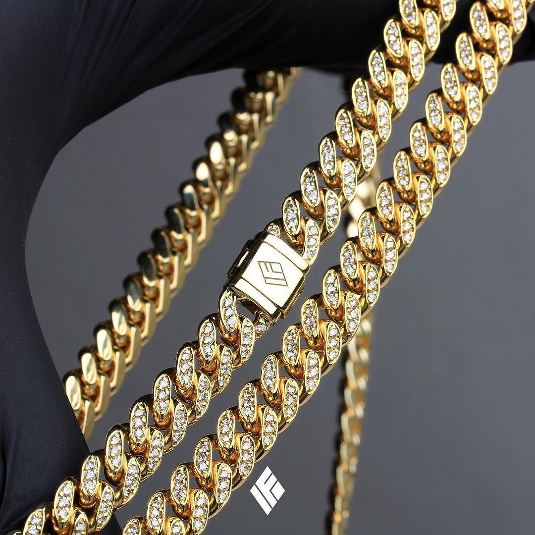 b2146fd1573 Solid 14K Yellow Gold Cuban Link Chain Fully Iced Out (7MM). Now available  on www.IFANDCO.com.  CubanLink  CustomJewelry  IFANDCO