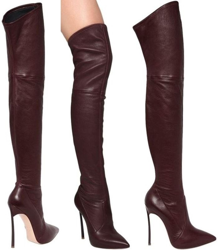 edc17b12610 Casadei Red 120mm Blade Stretch Leather Boots Thigh High Boots, High Heel  Boots, Heeled