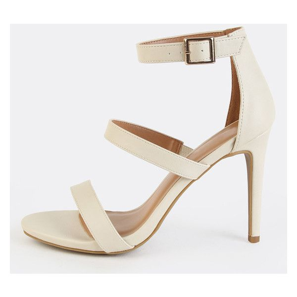 Single Sole Stiletto Heels IVORY ($27) ❤ liked on Polyvore featuring shoes, pumps, white, high heel shoes, ankle strap stilettos, white pumps, open-toe pumps and white open toe pumps