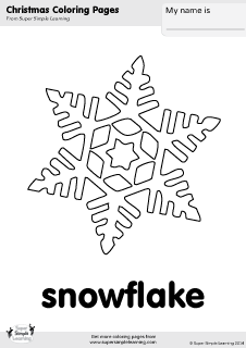 Free snowflake coloring page from Super Simple Learning Tons of