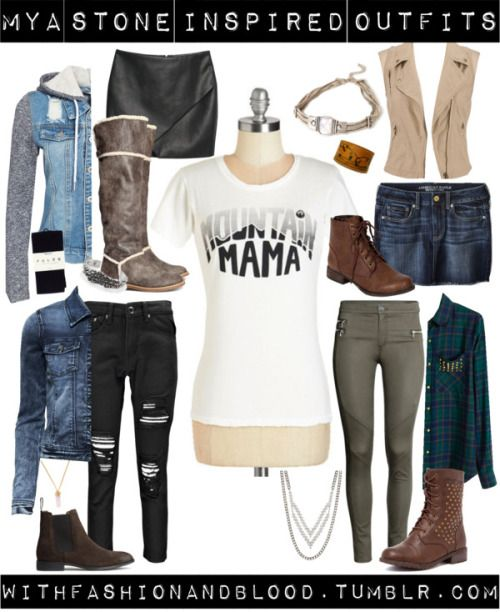 Mya stone inspired outfits by withfashionandblood featuring lace up bootsGraphic tee / Green shirt / Beige vest / ONLY jean jacket, $42 / NLY trend, $67 / Boohoo boyfriend jeans / American Eagle Outfitters short skirt / MANGO black skirt, $44 / Falke black tight, $30 / H&M khaki pants, $30 / Ankle booties, $89 / Lace up boots / H&M brown boots, $25 / Breckelle's lace up boots / House of Harlow 1960 cuff bracelet / Panacea silver necklace / Cuff bracelet / Forever 21 choker neck...