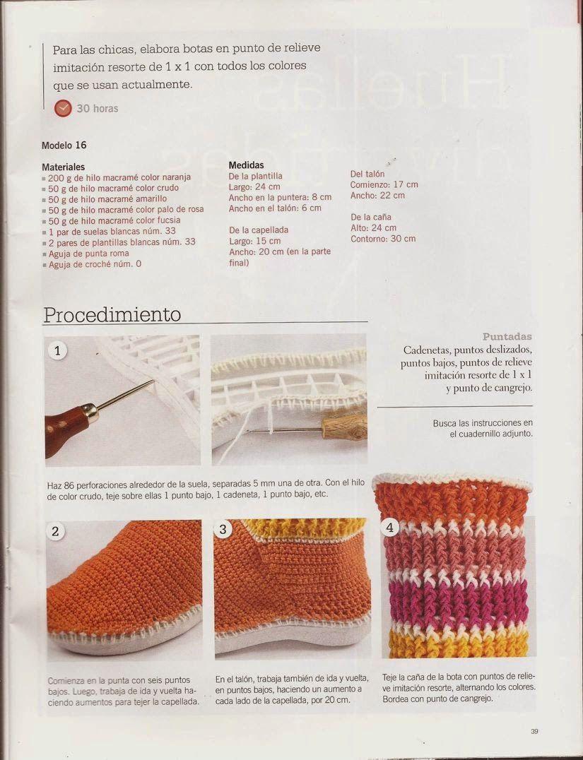 Instrucciones para Botas | Crochet: Pantuflas, zapatos, zapatillas ...
