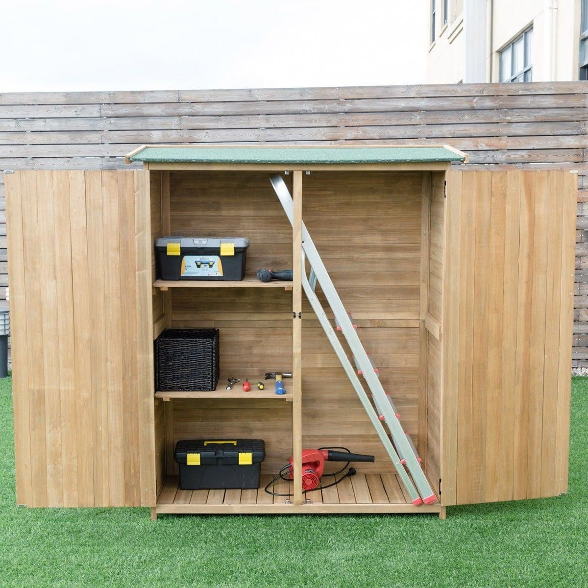 Storage Shed Outdoor Fir Wood Cabinet