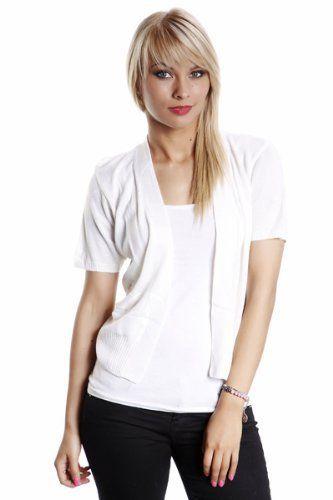 Women's Mix Stripes Knit Shrug (Size 14, White) 100% Cotton. L: 18 (Centre Back To Hem). Open Front.  #Juliet's_Kiss #Apparel