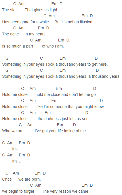 U2 - Iris (Hold Me Close) Chords | The Few Things I Like | Pinterest ...