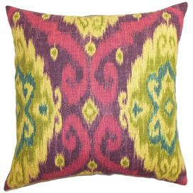 Deandre Cotton Throw Pillow in Mulberry