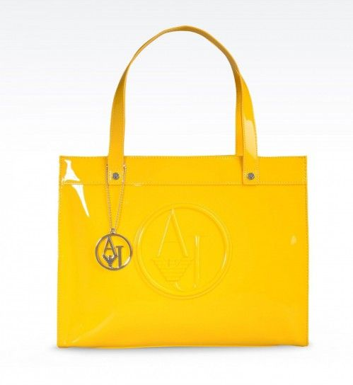 Shopper Armani Jeans in eco vernice gialla - #bags #glossy #yellow