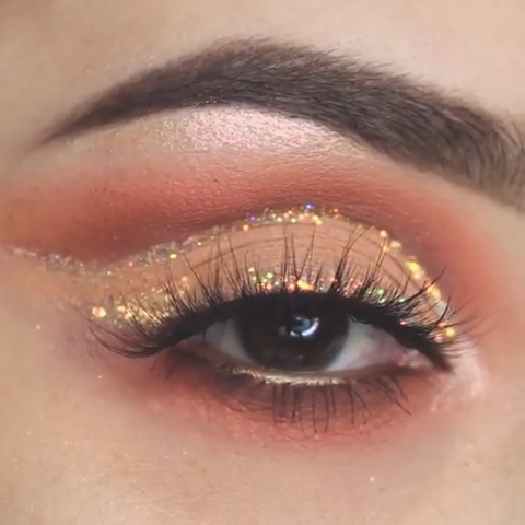 peachy glittery eye makeup look ideas tutorial eyemakeup