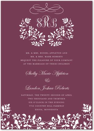 Elegant Floral Filigree Monogram Wine Formal Party Invitations