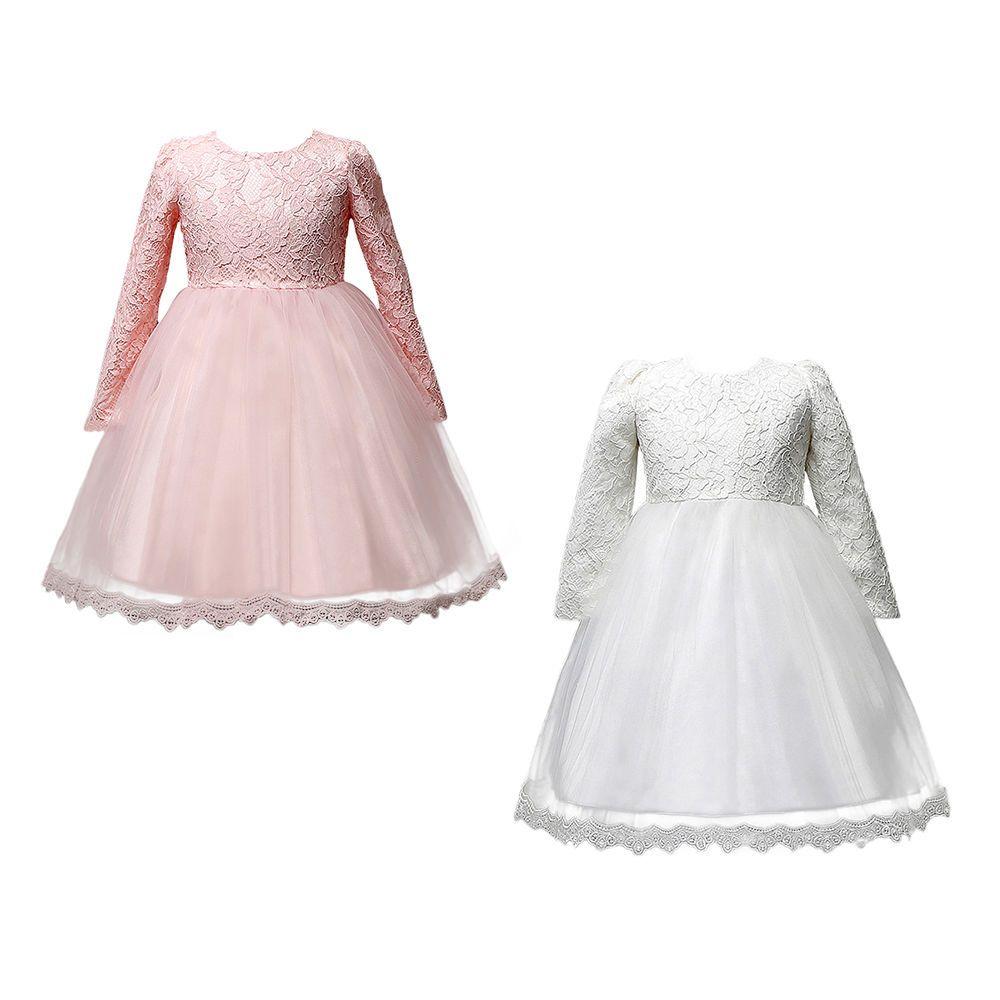Kinder Mädchen Langarm Spitzenkleid Prinzessin Tutu Hochzeit Party ...
