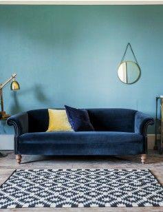 Midnight Blue Velvet Sofa Rose And Grey