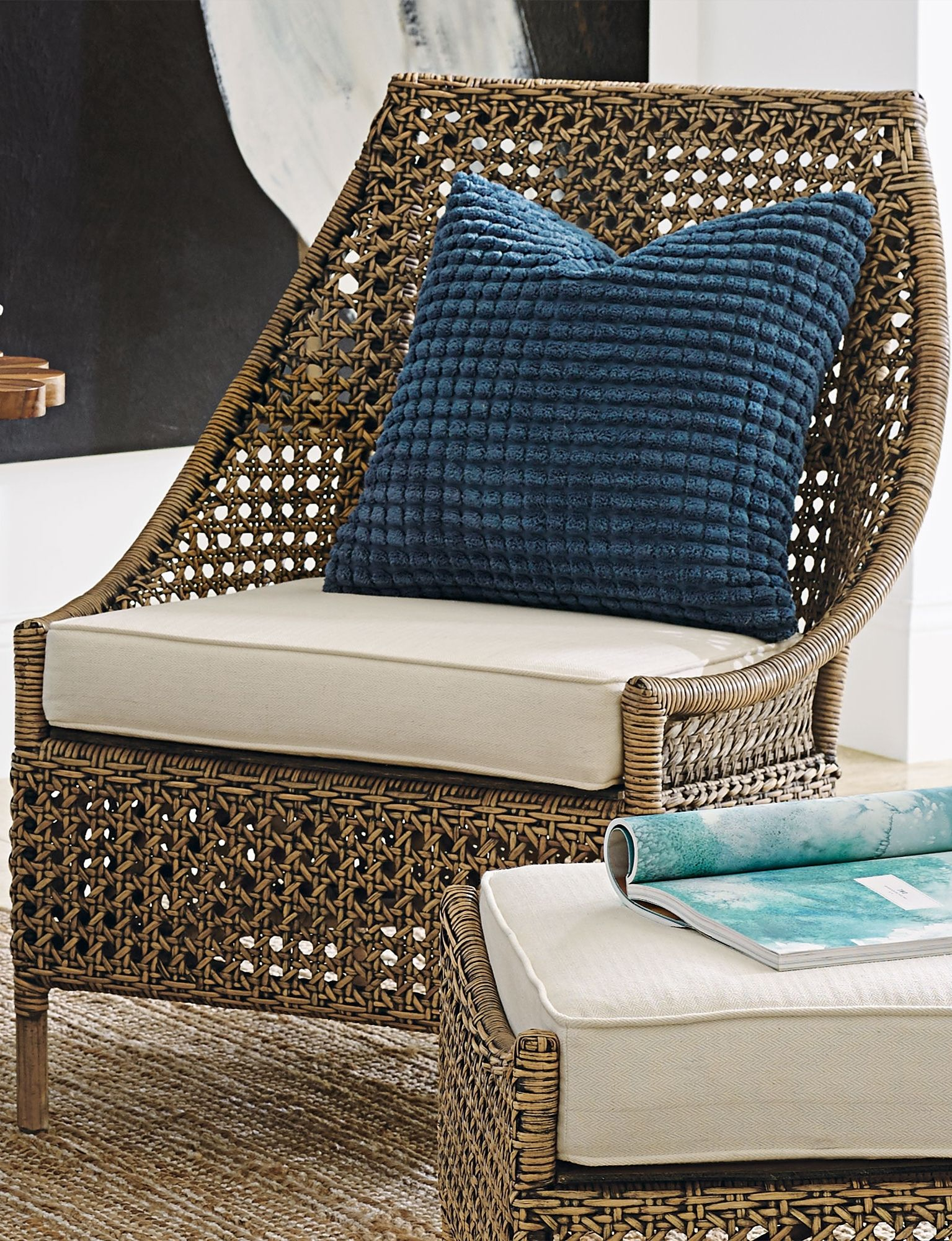 Two Stylish High Back Rattan Chairs Delight With Two Different Looks.