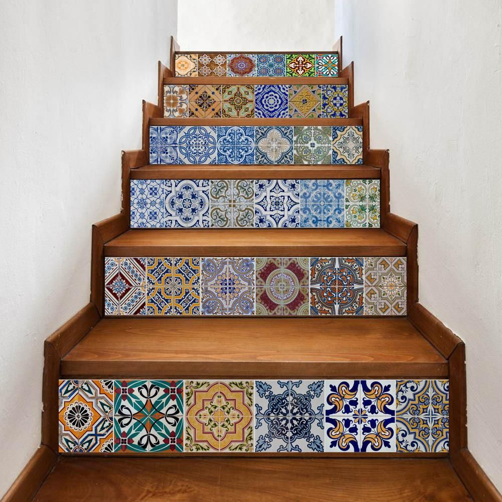 Suspended Style 32 Floating Staircase Ideas For The: DIY Removable Stair Sticker Ceramic Tiles Patterns