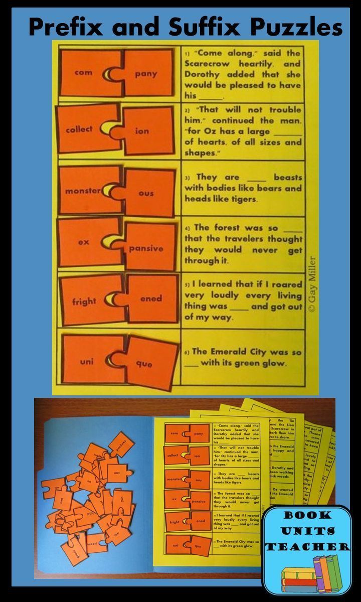 Prefix and Suffix Puzzles - Book Units Teacher