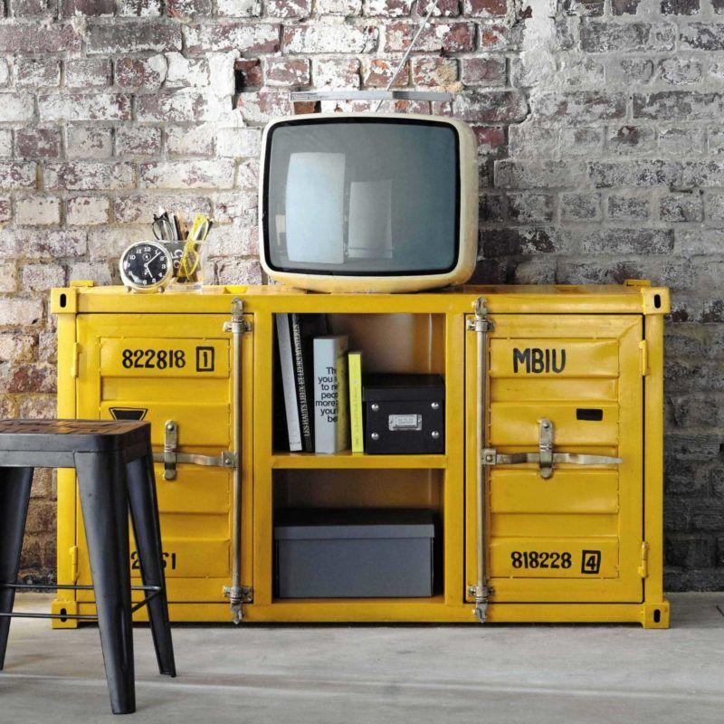 Meuble Tv Industriel 21 Modeles Pour La Deco Du Salon Meuble Tv Industriel Meuble Tv Meuble Industriel Maison Du Monde
