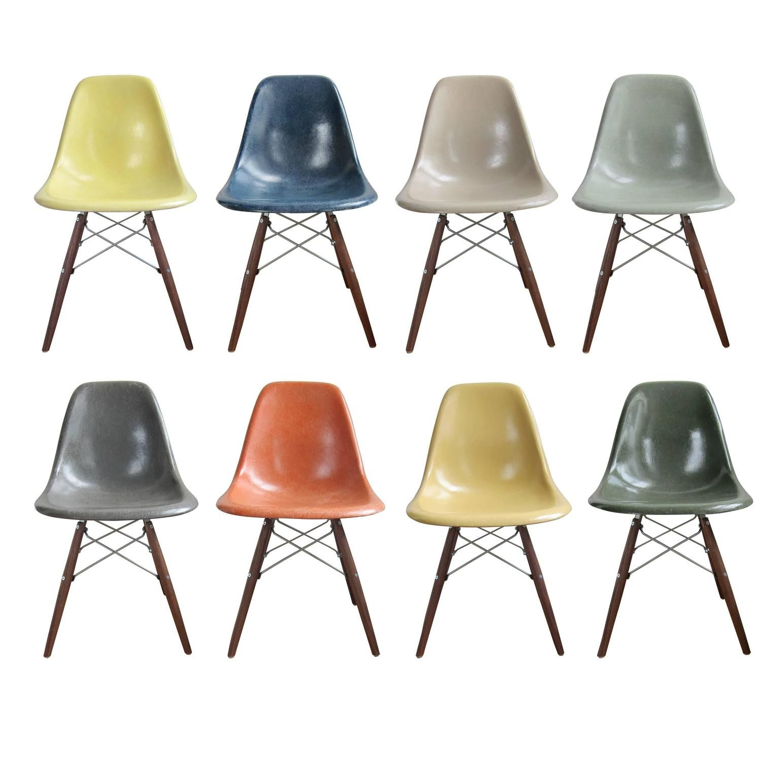 Eight Multicolored Herman Miller Eames Dining Chairs Eames Dining Eames Dining Chair Eames Chair Dining Room
