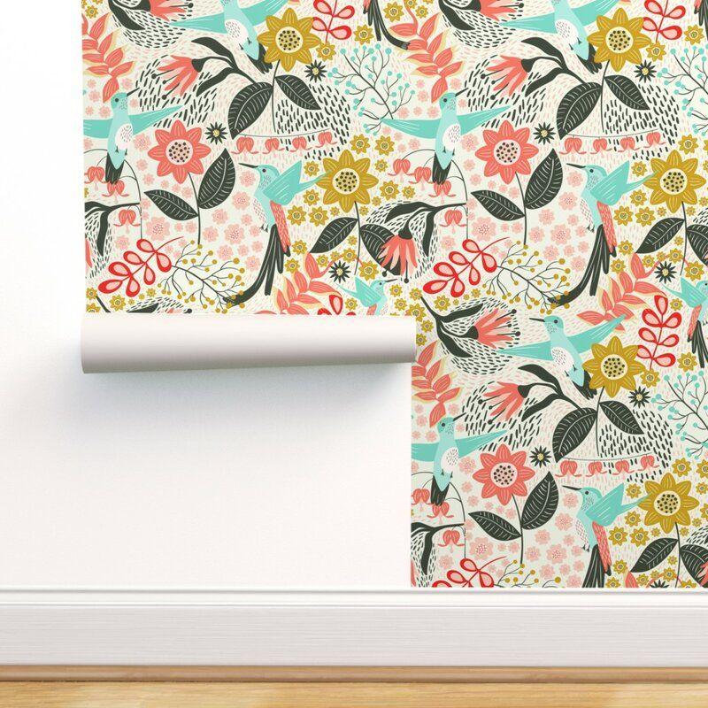Bungalow Rose Tonnele Hummingbird Removable Peel And Stick Wallpaper Panel Reviews Wayfair In 2020 Hummingbird Wallpaper Self Adhesive Wallpaper Wallpaper