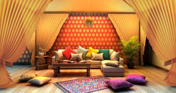 Desi royale indian traditional living room design with for Indian ethnic living room designs