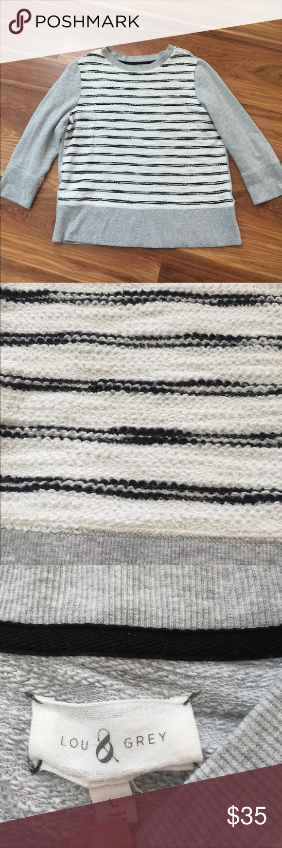 Lou and Grey Pullover sweater sz Large Lou & Grey Pullover Sweater size Large. GREAT gently used condition, minimal signs of wear. Striped black and white in front, solid grey sleeves, back and border. Comfy classy casual ❤️❤️. Lou & Grey Sweaters Crew & Scoop Necks