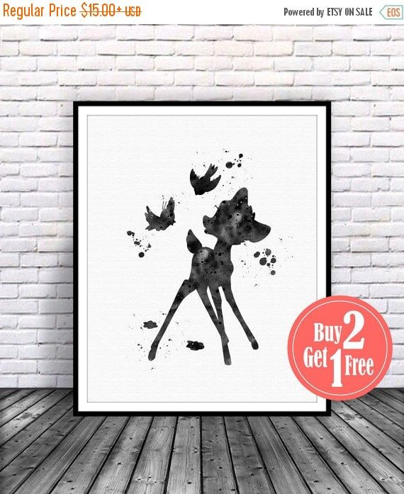 BIG SALE: Bambi Print Bambi Butterfly Bambi Art Disney par CarmaZoe