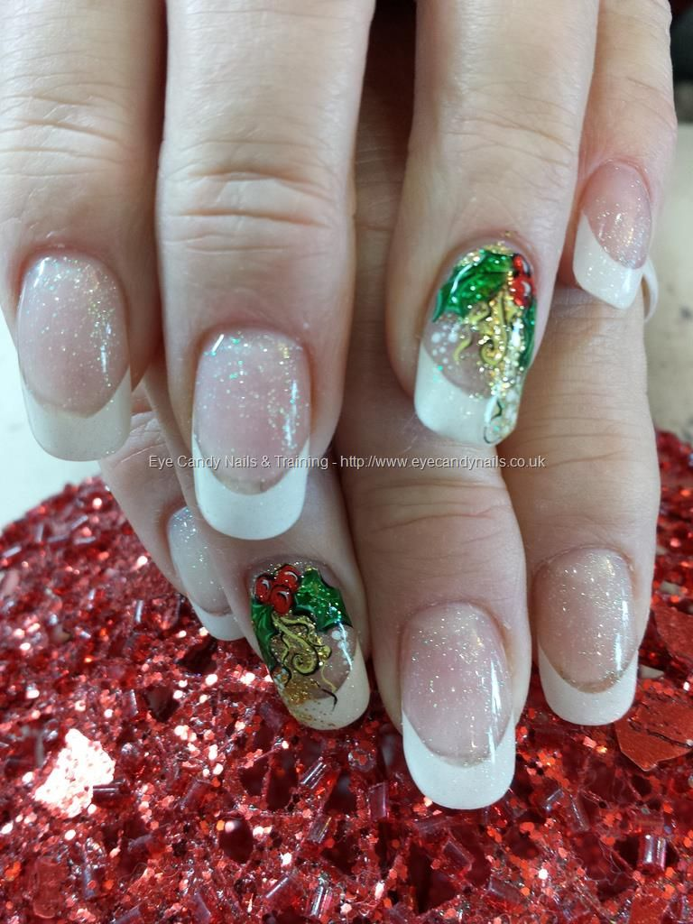 White Tips With Christmas Holly Nail Art