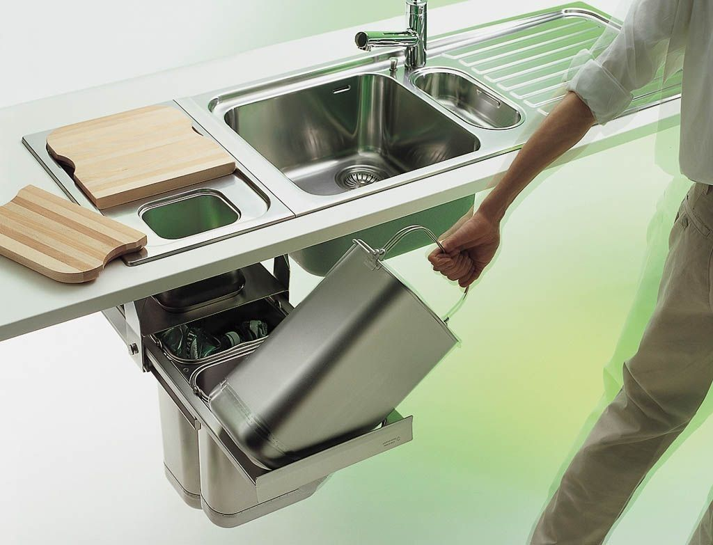 STAINLESS STEEL WASTE CONTAINERS BUILTIN • ALPES INOX