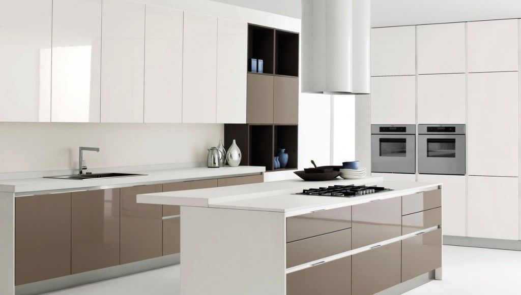Interesting Modern White Kitchen Island With Brown Kitchen Cabinet Design  With Silver Sink For Italian Kitchen Style Part 6