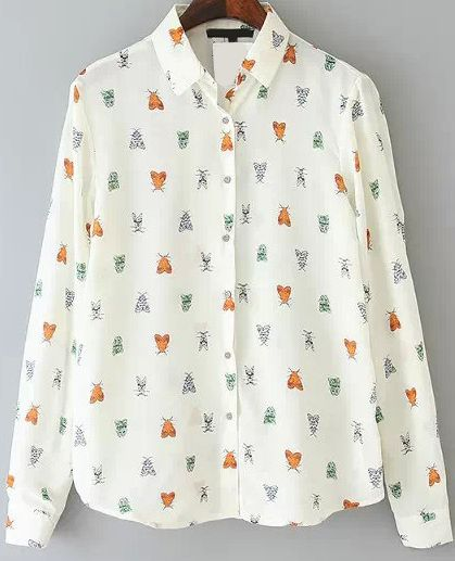 Insect Print Loose Blouse