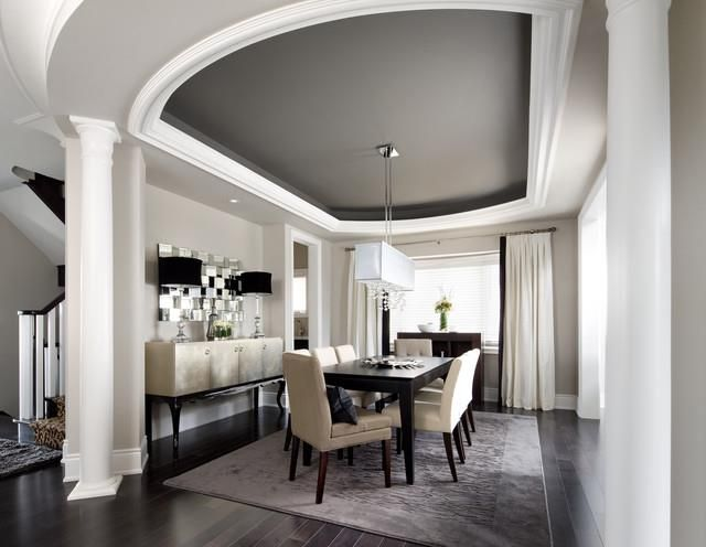 Dark Gray Tray Ceiling And White Walls Bring The Eye Up Give Room An Elegant Modern Feel As Well Expanding E