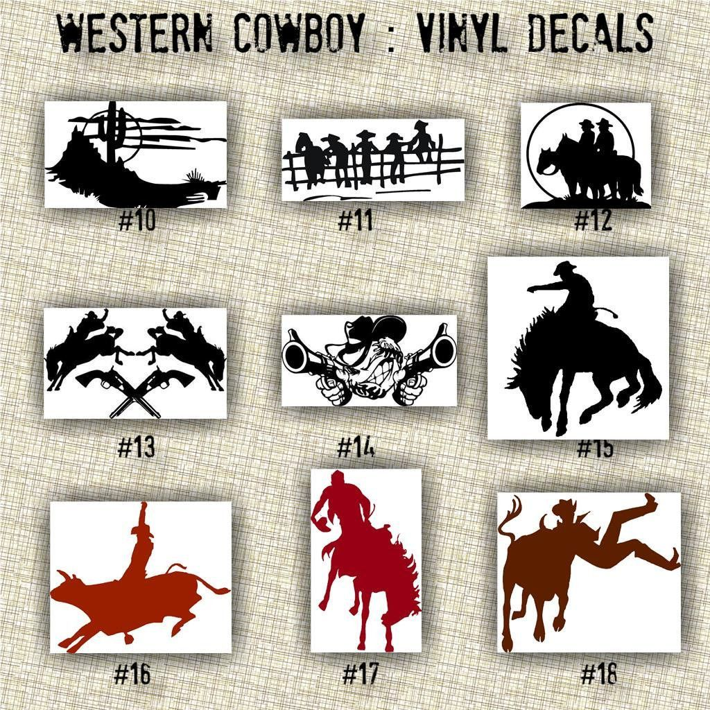 COWBOY Vinyl Decals Western Vinyl Stickers Custom - Cowboy custom vinyl decals for trucks